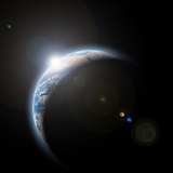 Planet Earth with Sunrize in Space Reproduction photographique par  DR_Flash