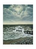 Moon and Breakwater, 1997 Giclee Print by Margaret Hartnett