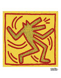 Untitled, 1982 (red dog on yellow) Poster di Keith Haring