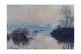 Soleil couchant sur la Seine à Lavacourt, effet d'hiver Impressão giclée por Claude Monet