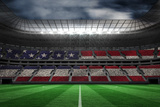 Digitally Generated American National Flag against Large Football Stadium Impressão fotográfica por Wavebreak Media Ltd