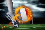 Football Player Kicking Flaming France Flag Ball against Football Pitch under Stormy Sky Impressão fotográfica por Wavebreak Media Ltd