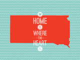 Home Is Where The Heart Is - South Dakota Trykk på strukket lerret