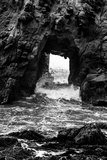 California Pfeiffer Beach in Big Sur State Park Dramatic Black and White Rocks and Waves Photographic Print by  holbox