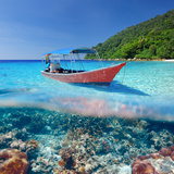 Beautiful Beach and Motor Boat with Coral Reef Bottom Underwater and above Water Split View Photographic Print by  haveseen