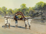 A Man and His New Wife Ride in a Palkee to their New Home Giclee Print by W. Langdon Kihn