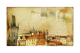 Vintage Post Card Series- Cities- Prague Poster por  Maugli-l