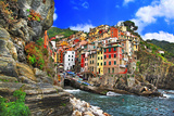 Colors of Italy - Riomaggiore, Pictorial Fishing Village,Liguria Stretched Canvas Print by  Maugli-l