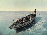A Masula Boat with Crew Leaves the Madras Shore to Meet Ships Giclee Print by H.M. Herget