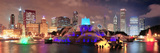 Chicago Skyline Panorama with Skyscrapers and Buckingham Fountain in Grant Park at Night Lit by Col Reproduction photographique par Songquan Deng