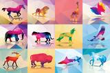 Collection of Geometric Polygon Animals, Patter Design, Vector Illustration Kunstdrucke von  BlueLela