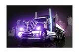 Violet Glowing Tanker Truck Affiches par  duallogic