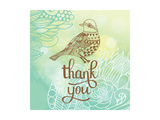Thank You Card in Blue Colors. Stylish Floral Background with Text and Cute Cartoon Bird in Vector. Art by  smilewithjul