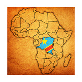 Democratic Republic of Congo on Actual Map of Africa Art by  michal812