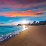 Benidorm Alicante Playa De Poniente Beach Sunset in Spain Valencian Community Photographic Print by  holbox
