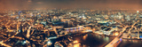 London Aerial View Panorama at Night with Urban Architectures and Bridges. Reproduction photographique par Songquan Deng