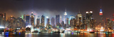 New York City Manhattan Skyline Panorama at Night over Hudson River with Refelctions Viewed from Ne Reproduction photographique par Songquan Deng
