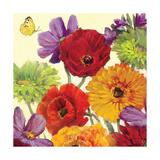 Butterfly Flower Scatter Crop III Art by Carol Rowan