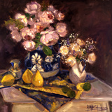 Pink Roses and Table Cloth Prints by Allayn Stevens