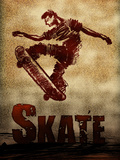 Skateboarding Skate Sketch Sports Poster Print Pósters