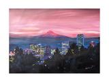 Portland Oregon with Mt Hood at Sunset Affiches par Markus Bleichner