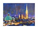 Vienna Skyline with St Stephan at Night Affiches par Markus Bleichner