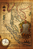 Beautiful Old Brass Compass over Antique Thailand Map Photographic Print by  haveseen