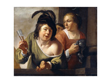 A Young Toper and a Serving Maid Drinking on a Balcony Lámina giclée por Jan Gerritsz. van Bronckhorst