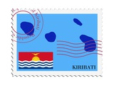 Stamp with Map and Flag of Kiribati Prints by  Perysty