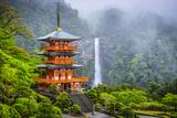 Nachi, Japan at Nachi Taisha Shrine Pagoda and Waterfall. Photographic Print by  SeanPavonePhoto