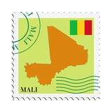 Stamp with Map and Flag of Mali Metalltrykk av  Perysty