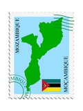 Stamp with Map and Flag of Mozambique Posters af  Perysty