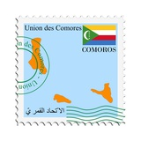 Stamp with Map and Flag of Comoros Print by  Perysty