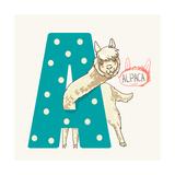 Letter A Alpaca Posters por  adikatz