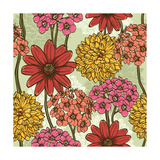 Floral Seamless Pattern. Hand Drawn Flowers. Bright Colors. Perfect for Wrapping Paper, Wallpaper,T Posters by  hoverfly