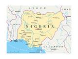 Nigeria Political Map Lámina por Peter Hermes Furian