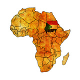 Sudan on Actual Map of Africa Posters af  michal812