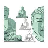 Sitting Buddha in Vector Art Affiches par  DR_Flash