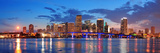 Miami City Skyline Panorama at Dusk with Urban Skyscrapers and Bridge over Sea with Reflection Reproduction photographique par Songquan Deng