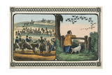 Boys Stand by Fence Watching a Flight of Birds and Other Children Takes Rides on Mules Posters av Charles Butler