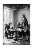 Benjamin Franklin Reading Draft of Declaration of Independence Láminas por Jean Leon Gerome Ferris