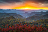 Blue Ridge Parkway Autumn Mountains Sunset Western Nc Scenic Landscape Stampa fotografica di  daveallenphoto