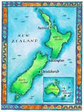 Map of New Zealand Fotografie-Druck von Jennifer Thermes