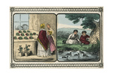 Women Visit a Shop That Sells Plants and Boys by a Pond Count Ducks Konst av Charles Butler