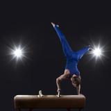 Male Gymnast Doing Handstand on Pommel Horse Fotografisk trykk av Mike Harrington