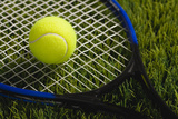 Usa, Illinois, Metamora, Tennis Racket and Ball on Grass Fotografisk tryk af Vstock LLC