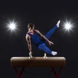 Male Gymnast on Pommel Horse Fotografisk trykk av Mike Harrington