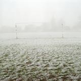 Soccer Goal in Frosty Field Fotografisk trykk av Laurie Castelli