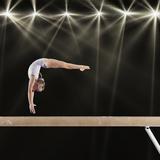 Young Female Gymnast on Balance Beam Premium fotografisk trykk av Robert Decelis Ltd