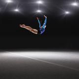 Female Gymnast Jumping through Air Fotografisk trykk av Robert Decelis Ltd